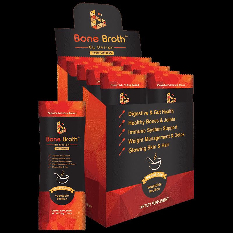 Beef Bone Broth - Vegetable Bouillon Natural Flavor - Sachets Box