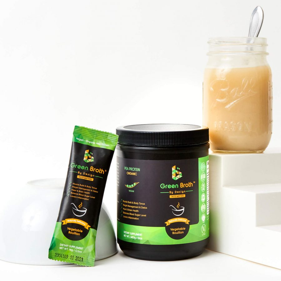 Green broth By Design Jar and Sachet with ready green broth in a jar