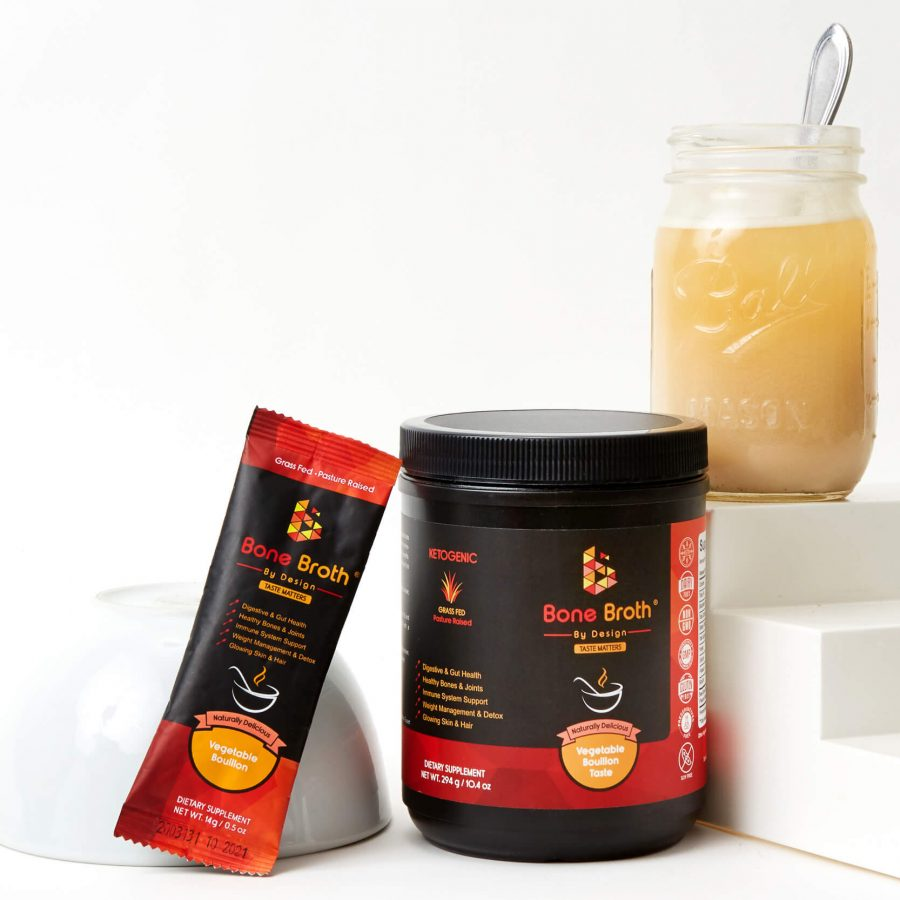 Bone Broth By Design Jar and Sachet with ready broth in a jar