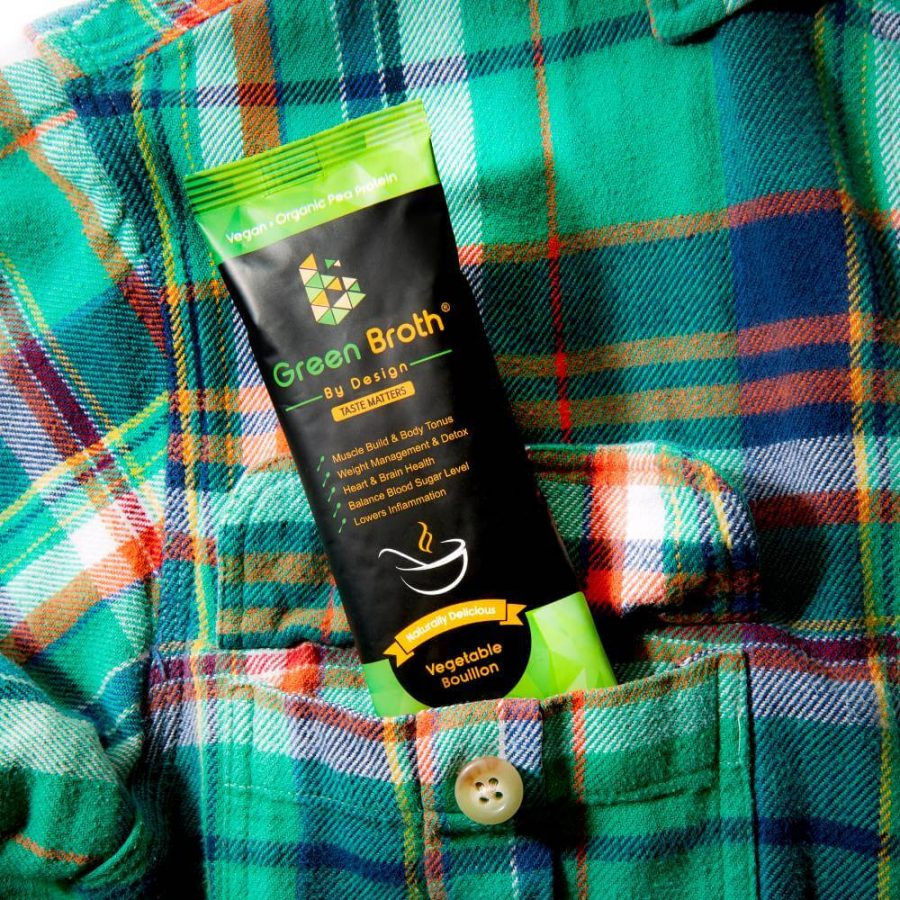 Green Broth By Design Sachet in a plead shirt