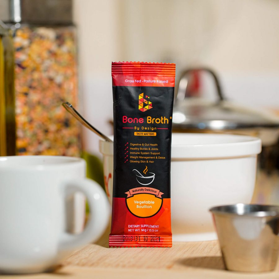 Bone Broth By Design sachet in a kitchen setting