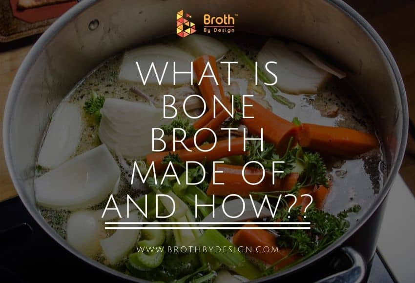 A saucepan with some of the ingredients needed for preparing bone broth