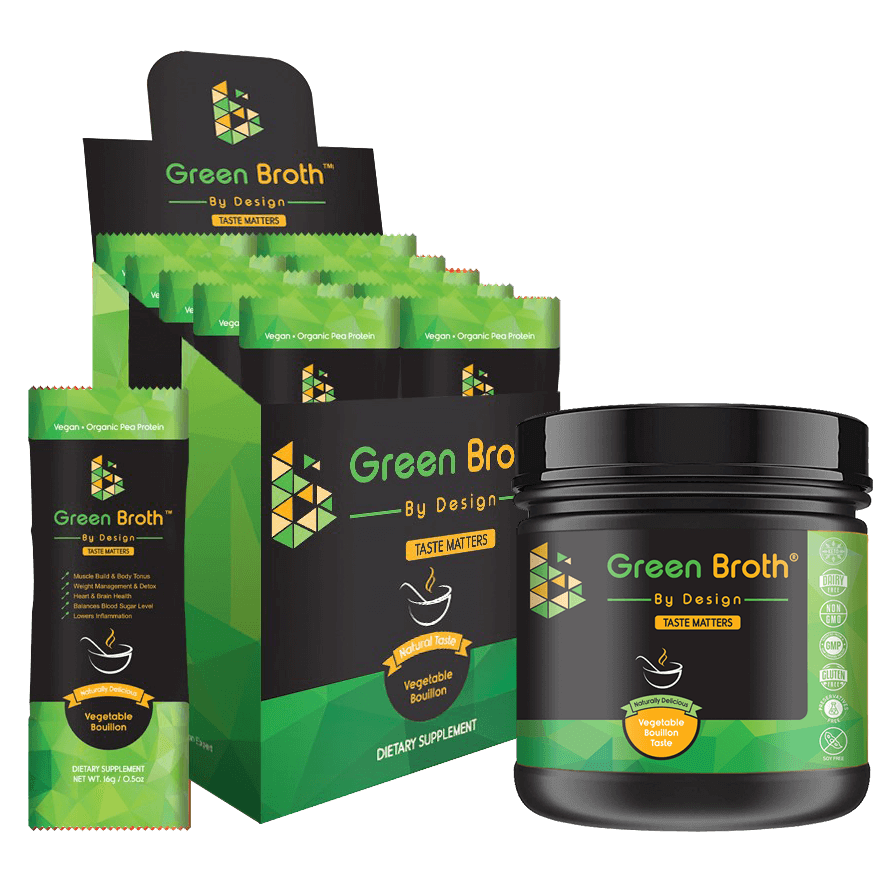 green broth by design sachets box and jar