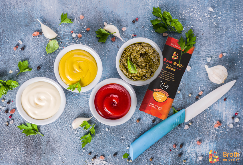 4 different sauces made with bone broth
